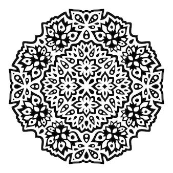 抽象的な花柄の美しいモノクロの部族のイラスト