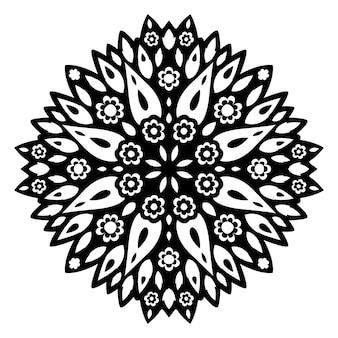 分離された抽象的な黒い花の単一パターンと美しいモノクロの部族の入れ墨のイラスト