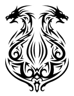 Beautiful monochrome tribal tattoo illustration with black fantasy lyre and two dragon heads isolated on the white background