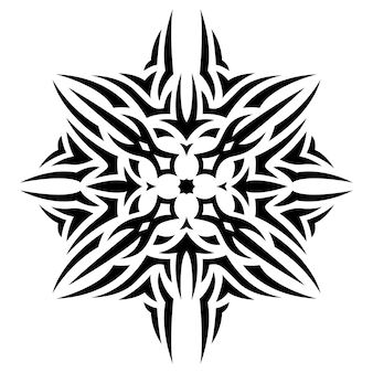 Beautiful monochrome tribal tattoo vector illustration with abstract black single pattern isolated on the white background