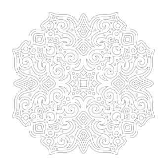 Beautiful monochrome vector illustration for coloring book page with linear vintage pattern