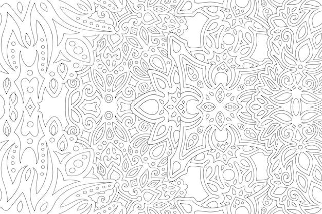 白い背景の上の抽象的な長方形線形東部パターンと大人の塗り絵の美しいモノクロベクトルイラスト