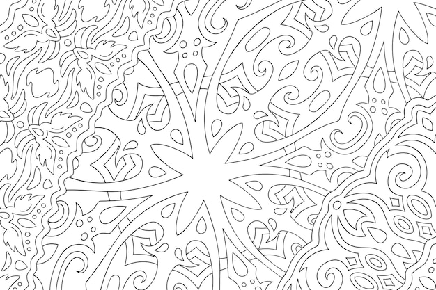 Beautiful monochrome vector linear illustration for adult coloring book page with abstract fantasy pattern on the white background