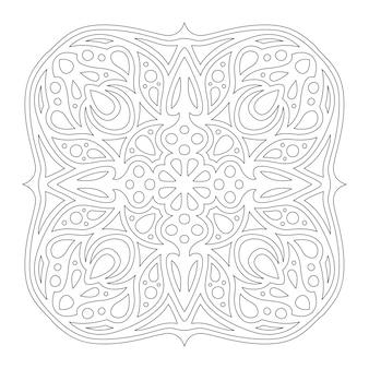 흰색 배경에 고립 된 추상 단일 패턴으로 책 페이지를 색칠하기위한 아름다운 단색 벡터 선형 그림