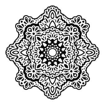 白い背景で隔離の抽象的な黒い東部のパターンを持つ美しいモノクロベクトル部族の入れ墨の図