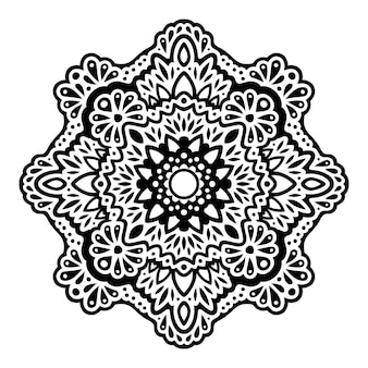 Beautiful monochrome vector tribal tattoo illustration with abstract black eastern pattern isolated on the white background