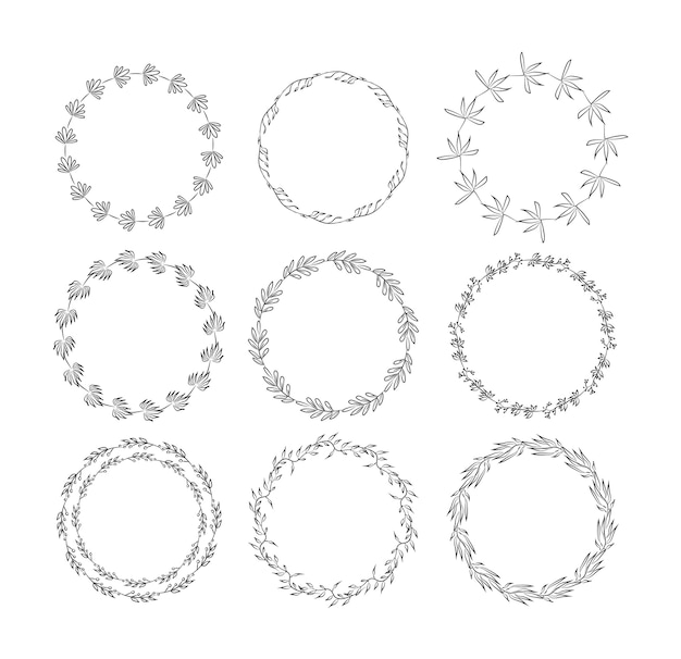 Beautiful monogram set with floral elements. collection of hand drawn wreaths, and frames with flowers and leaves for invitation cards decoration.   illustration