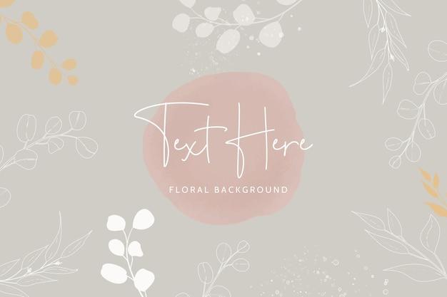 美しいモノラインの花とボヘミアン色の背景の葉