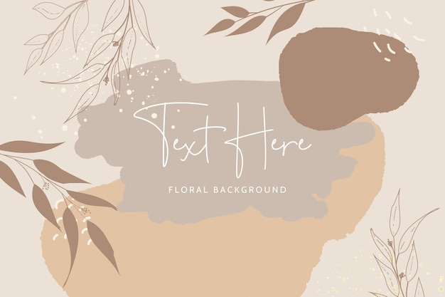 Beautiful monoline floral and leaves with bohemian color background