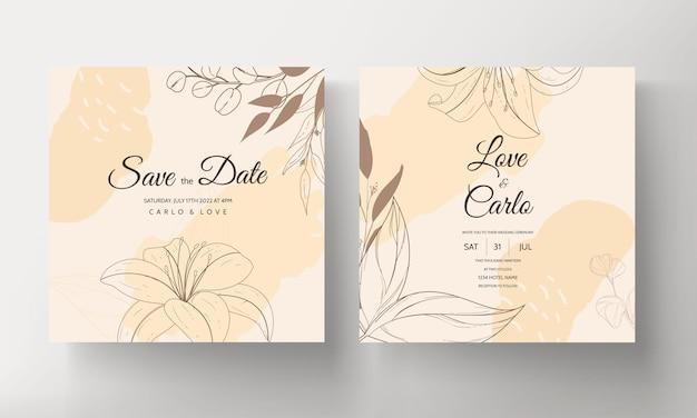 Beautiful monoline flower and leaf wedding invitation card