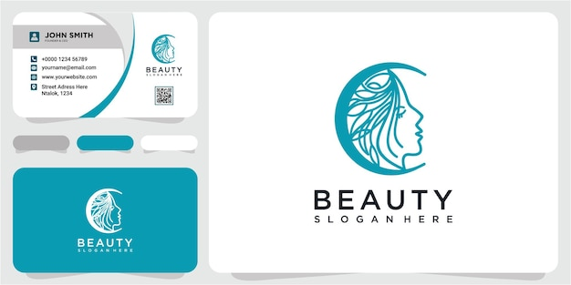 Beautiful moon logo with female face template vector with business card template