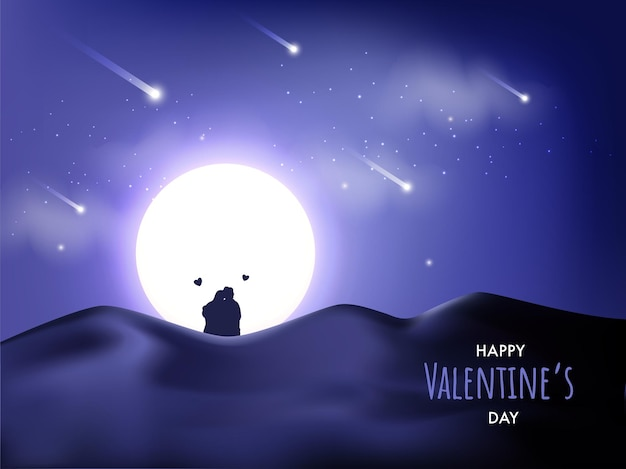 Beautiful moonlight desert background with silhouette couple sitting on the occasion of valentine's day.