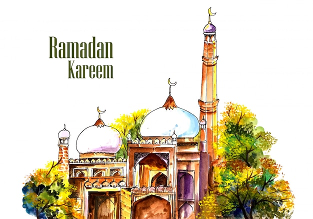 Beautiful mosque panting ramadan kareem background