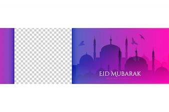 Beautiful mosque scene with flying birds for eid mubarak