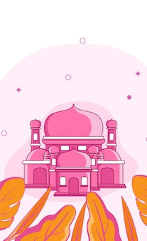 Beautiful mosque temple illustration