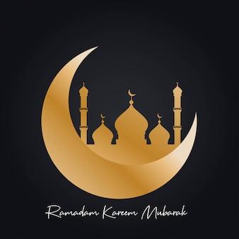 Beautiful mosque with cresent moon ramadan kareem mubarak