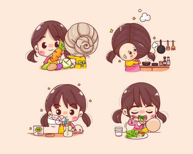 Beautiful mother cooking for baby collection cartoon set illustration