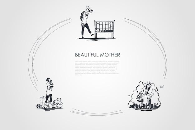 美しい母手描きのシクル
