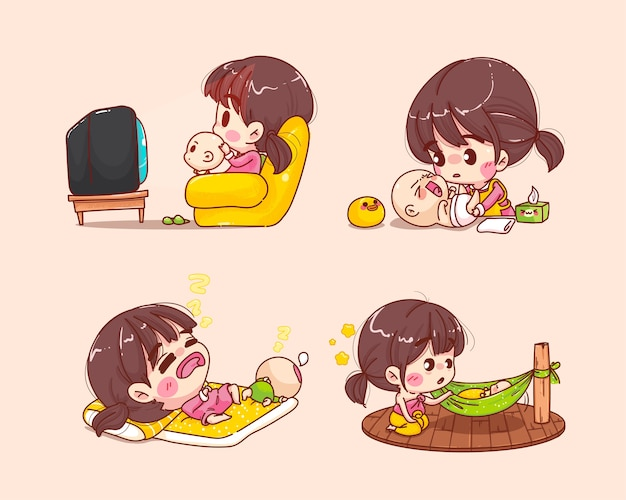 Beautiful mother has activity with baby collection cartoon set illustration