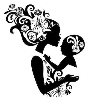 スリングで赤ちゃんと美しい母親のシルエット。花のイラスト