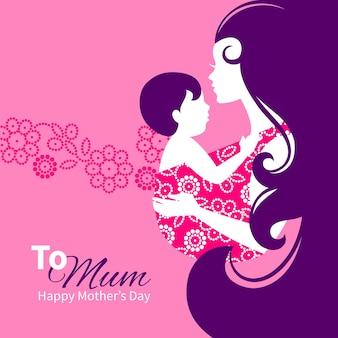 Красивый силуэт матери с младенцем в слинге. цветочная иллюстрация