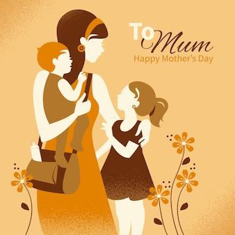 그녀의 아이 들과 함께 아름 다운 어머니 실루엣입니다. 해피 어머니의 날 카드