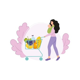 A beautiful mother with a newborn baby in a sling in her arms went to the store for shopping with a basket of products. shopping at a grocery store. fruit and food. vector flat illustrations.