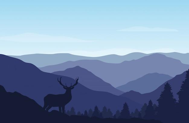 화창한 날에 아름 다운 산과 숲 풍경입니다.