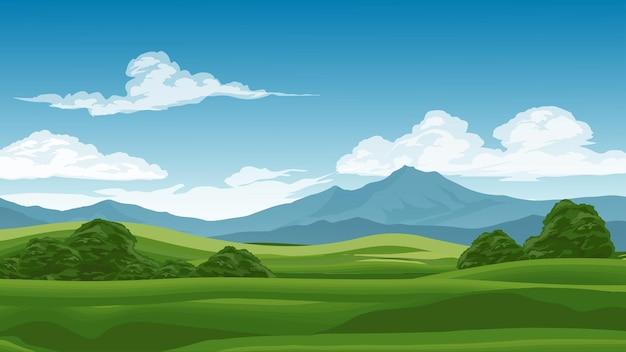 Красивый горный и луговой пейзаж