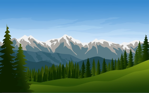 美しい山と松の森の背景