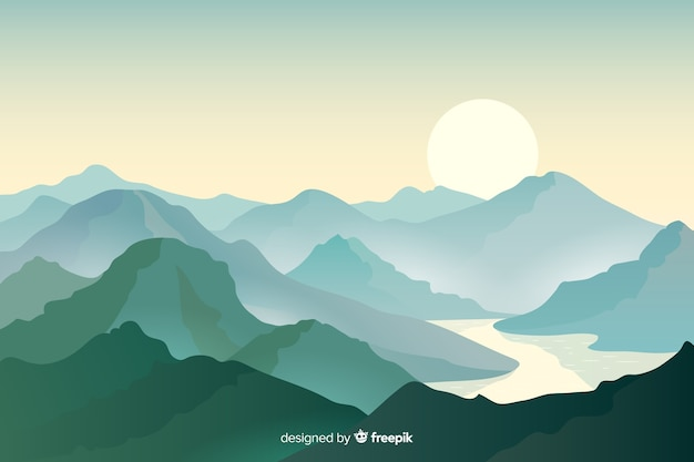 間に美しい山のチェーンと川