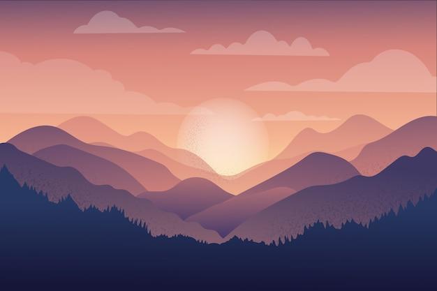 日没で美しい山のチェーンの風景