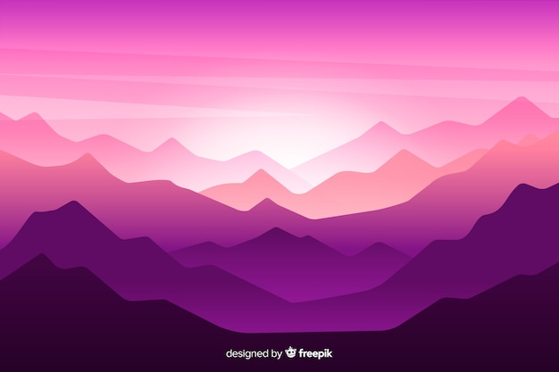 Beautiful mountain chain landscape in purple shades