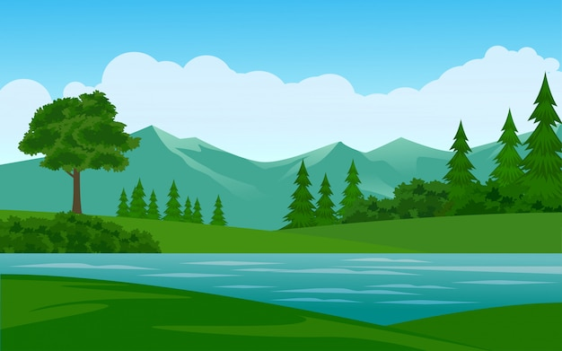Beautiful mountain illustration with river