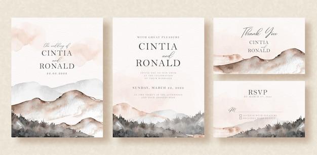 結婚式招待状の美しい山の風景水彩背景