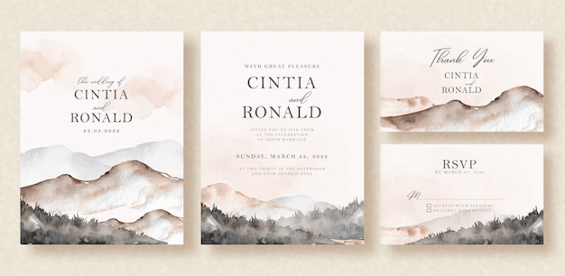 Beautiful mountain landscape watercolor background on wedding invitation