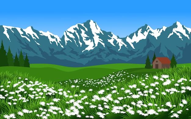 Красивый горный пейзаж с домом и зеленым полем