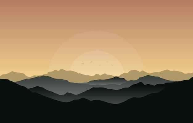Красивый горный пейзаж панорама в золотой монохромный плоский рисунок