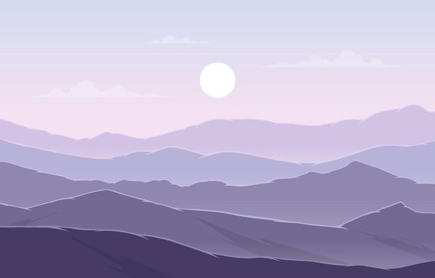 Красивый горный пейзаж панорама в фиолетовый монохромный плоский рисунок