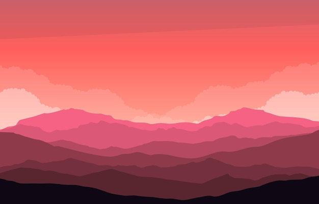 Beautiful mountain panorama landscape in red monochrome flat illustration