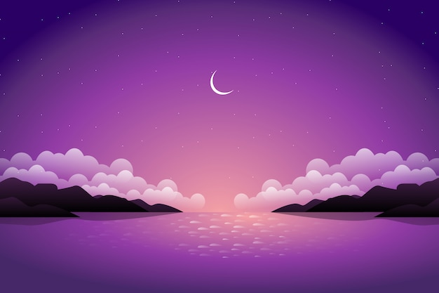 Beautiful mountain and purple sky with sea view