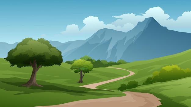 Иллюстрация красивой горной сцены с тропинкой и лугом