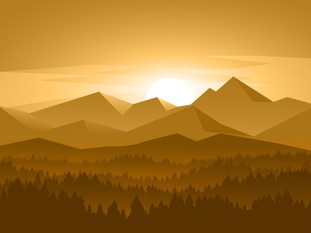 Красивый горный закат фон с туманным лесом