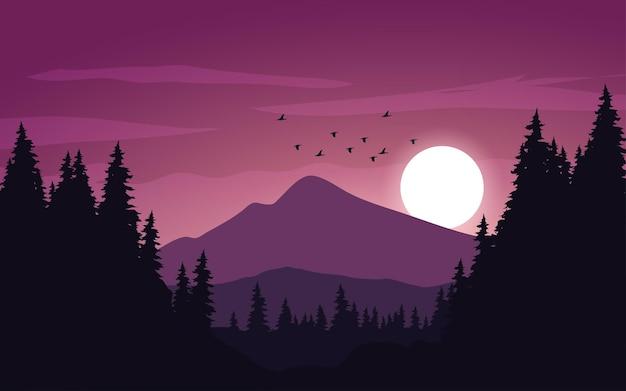 Красивый горный закат с птицами и сосновым лесом