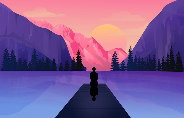 Beautiful mountain view on lake  illustration
