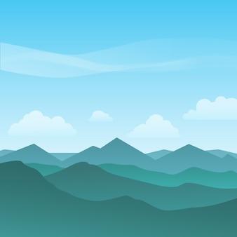 화창한 날에 아름 다운 산악 풍경 배경