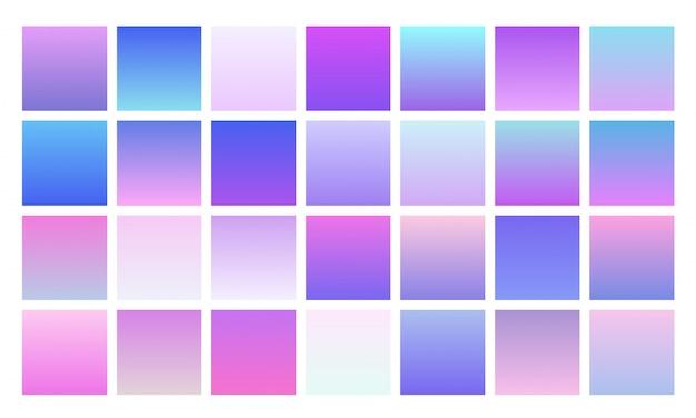 아름다운 여러 가지 빛깔의 그라디언트 컬렉션. 부드럽고 생생한 부드러운 색상 세트
