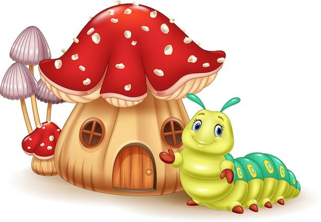 美しいキノコの家とかわいいキャタピラ