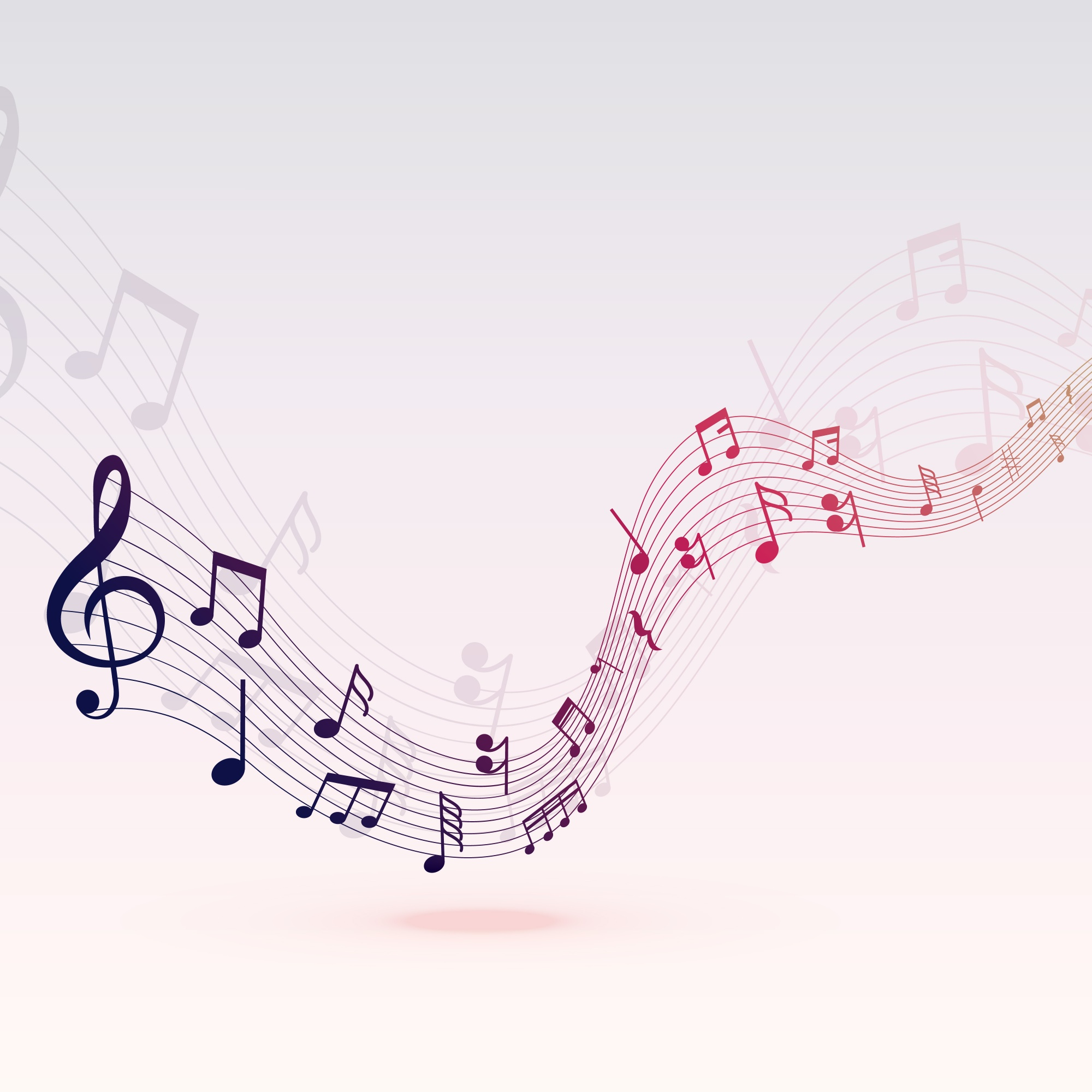 Beautiful musical notes wave background design