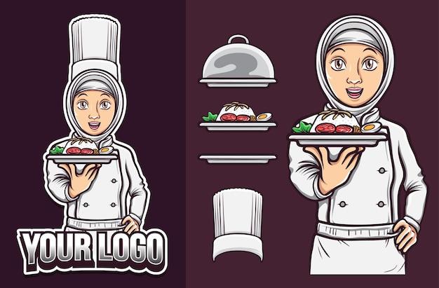 할랄 음식 로고를 들고 히잡을 쓴 아름다운 이슬람 여성 요리사
